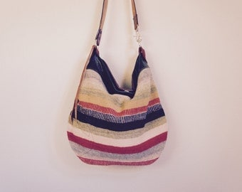 SUMMER///Agatha in Guatemalan Blanket with Green and Brown Leather and Vintage Hand Tooled Leather Messenger Strap