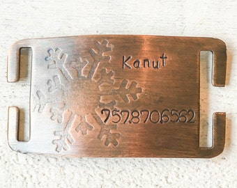 Not all dog tags are created equal. Pet id tags handcrafted in Bozeman, Montana personalized to your custom request. Snowflake Quiet Pet Tag