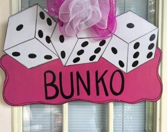 Front door decor, door decoration, Wood door hanger, Bunco, Bunko door hanger