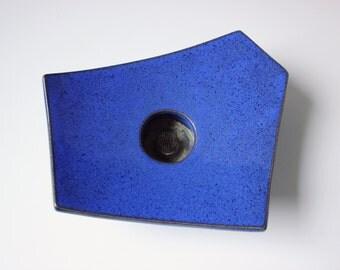 Modern geometric shaped ceramic flower frog - flower vase - cobalt blue / ceramic Danish pottery