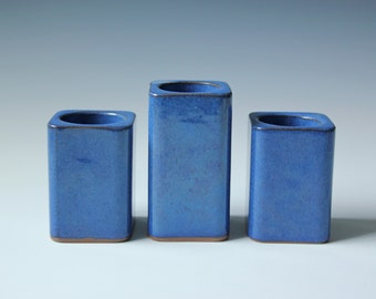 3 Danish modern blue glazed candle holder - Danish pottery