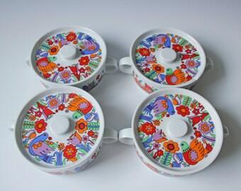 Set of 4 vintage Royal Crown porcelain lidded baking dish - colorful birds and flowers - Paradise pattern