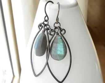 Labradorite Earrings, Oxidized Sterling Silver Gemstone Dangle Earrings, Briolette Drops, Wire Work Jewelry