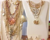 Necklace Lot 14 Necklaces 10 Earrings 3 Bracelets Vintage Freshwater Pearls Bride Beaded Collar Lot PR Boho Gypsy Bridesmaids Gifts *