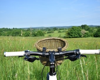 Small willow bicycle basket with black leather straps