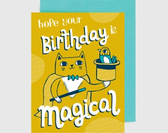 Cat Birthday Card - Magic Cat