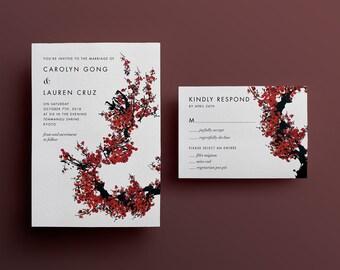 Plum Blossoms Wedding Invitation - Custom DIY Printable
