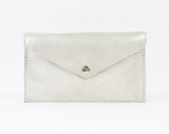 Cici - Handmade Pearlescent Silver Leather Clutch Purse Zip Pouch.