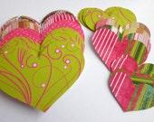 Valentine Hearts Kit Pinks and Greens Swirls, Stripes, Polka Dots