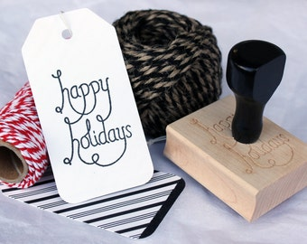 Happy Holidays Rubber Stamp with Handle for Gift Tags, Wrapping Paper, or Scrapboking