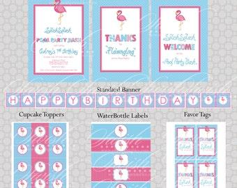 Flamingo Pool Party Birthday Invite and Party Printables - Fla-mingle Party Ideas