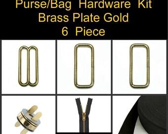 "1 SET - 1 1/2"" - 6 Piece Kit - BRASS Plate GOLD - Metal Handbag Purse Hardware - Slide, Rings, Zipper, Webbing and Magnetic Snap"