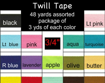 """ASSORTED Pre-Cut Package 48 Total Yards - 3/4"""" - Polyester Twill Ribbon Tape - 3 yards of 16 Different Colors"""