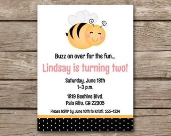Bee Birthday Party Invitation, Bee Invitation, Bee Birthday Invitation, Bumblebee Invitation, Bumblebee Party Invitation, PRINTABLE