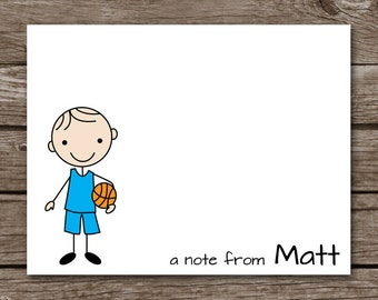 PRINTABLE Basketball Note Cards, Basketball Cards, Stick Kid Cards, Sports Cards, Personalized Notecards