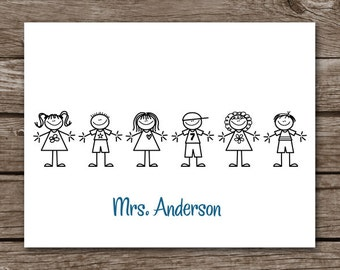 PRINTABLE Teacher Note Cards, Teacher Cards, Teacher Stationery, Teacher Stationary, Personalized Note Cards