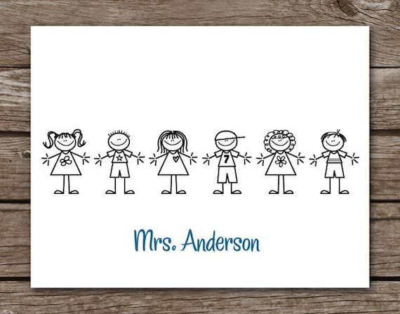 Teacher Note Cards - Notecards - Stick Kids - Stationery - Stationary - Personalized - Set of 8