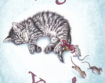 Tag, You're it! Card from an Original Pen and Colored Pencil Drawing Kitten and Mice