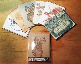 Box Set of 6 Bunnylopes Cards Original Illustrations Letterpress Printed Jackalopes