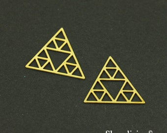 Unique - 8pcs Raw Brass  Geometric Triangle Charm / Pendant, Fit For Necklace, Earring, Brooch - TG070