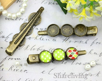 5pcs Antique Bronze Hair Clips, Alligator Clips Barrette with three 12mm Cameo Setting HA221
