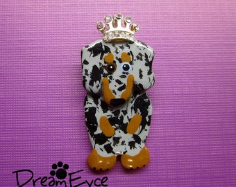 Princess B**ch Dapple Dachshund Pendant. Artist Hand-made Dog Art Jewelry Pin H2