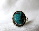 Sterling Silver Native American Turquoise Ring Size 7