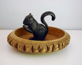 Vintage Squirrel Nutcracker in Tree Bark Nut Bowl Cast Iron Animal Country Cottage Rustic Lodge Decor Carved Wood Serving Dish Cabin Decor