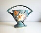 1940s Roseville Art Pottery Magnolia Basket Vase Vintage Ceramics Blue Pink Flowers Cottage Chic Home Decor 384-8 Rustic Branch