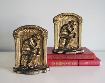 Cast Iron Bookend, Rodin Thinker Bookends, 1920s Man Statue, Bron Met Bookend, Gold Painted, Art Deco Home Decor, Desk Accessories, Man Cave