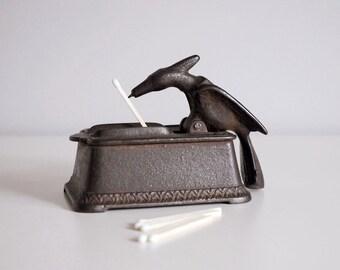 Antique Cast Iron Bird Match Safe Holder 1800s Tobacciana Metal Collectible Kitchen Hearth Storage Box Dispenser Striker Plate