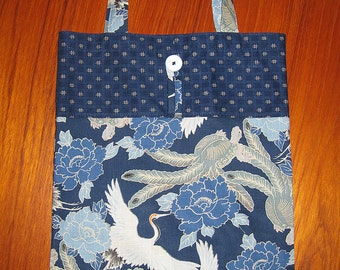 Tuck and Roll Fold-Up Portable Shopping Tote Cranes, Turtle and Peony Design Japanese Asian Fabric