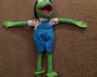 """Kermit Frog stuffed animal with Easter Ducky 1993 """"Spring into Spring"""" VINTAGE"""