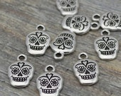 SUGAR SKULL Charms, Antique Silver, Tierracast, Qty 4 to 20, Day of the Dead Charms, Halloween Charms Gothic Charm Tierra Cast Pewter Charms