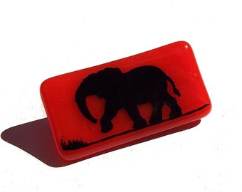 Glass Elephant Brooch Custom Enamel Colours Screen Printed Fired