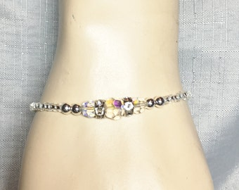 Beaded Simple Crystal Clear Ab Round Bracelet Arm Jewelry #134
