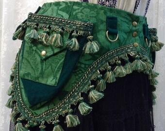 Tribal fusion utility belt - green and gold tapestry pocket belt with tassels - bellydance pocket belt - con wear utility belt - Small