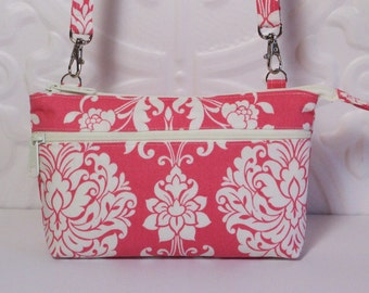 Cross Body Wallet Purse / Cell Phone Wallet / iPhone 6 Wallet Bag / Samsung Galaxy Moto X & More / Tech Smart Phone / Pink Ivory Damask