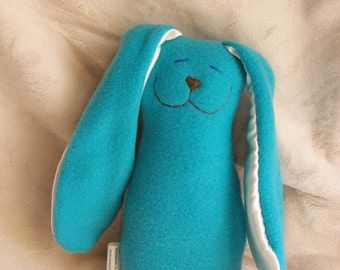 Bright Teal Fleece Snuggle Bunny Toy