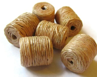 6 Twine Beads Jute Wrapped Beads Wood Beads Tube Bead Vintage Beads Old New Stock Beads 12mm x 10mm Wooden Beads Hemp Wrapped Natural Beads