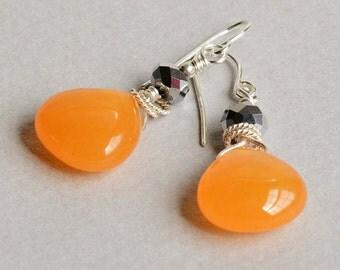 Sunkissed Earrings - Orange and Silver Earrings - Orange Drop Earrings - Orange Jade Earrings - Sterling Silver Earrings
