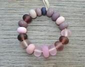 50% off - Frosty purple spacers - Lampwork beads by Loupiac