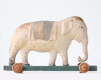 Vintage White Elephant, Tin Toy Elephant on Wheels