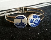 Blue Willow Vintage Plate Double Round Bracelet