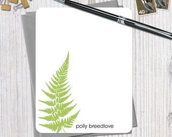 The Ancient Fern - Set of 12 Personalized Flat Note Cards + Envelopes - YOU CHOOSE COLOUR