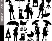 80% OFF SALE Pregnant woman Clipart - Mom To Be and Umbrella Silhouette 07347 - Digital clip art - commercial use for personalized invites,