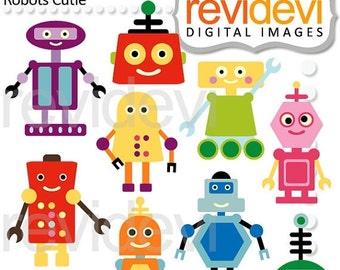 30% OFF SALE Robots clipart - Robots cutie - digital images - commercial use