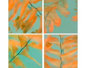 Abstract Art Print Set, Four Print Set, Neon Wall Decor,  Fern Botanical Prints, Orange Aqua Wall Art, Leaf Nature Photography