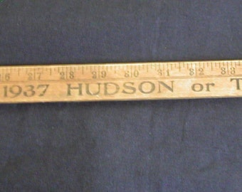 1937 Hudson Terraplane Car Advertising Wooden 55 inches Measuring Ruler Stick