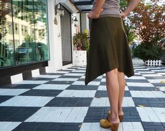 Womens Wool Skirt, Olive Green, Organic Bamboo, Asymmetrical, Bohemian Skirt, A Line Skirt, Winter Style, Office, Gift Her, Travel, Casual